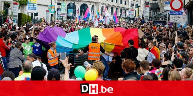 People gather for the 24th edition of the 'Belgian Pride', a manifestation of lesbian, gay, bisexual and transgender oriented people, Saturday 18 May 2019 in Brussels. BELGA PHOTO NICOLAS MAETERLINCK