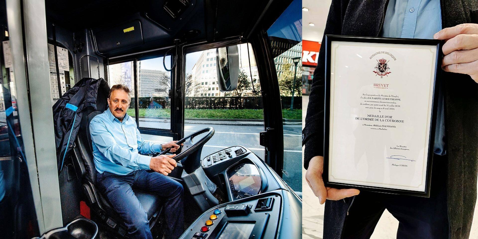"""Aziz, chauffeur à la Stib, décoré de la Médaille d'Or de l'Ordre de la Couronne : """"Merci au Roi de ce si beau pays pour la reconnaissance"""""""