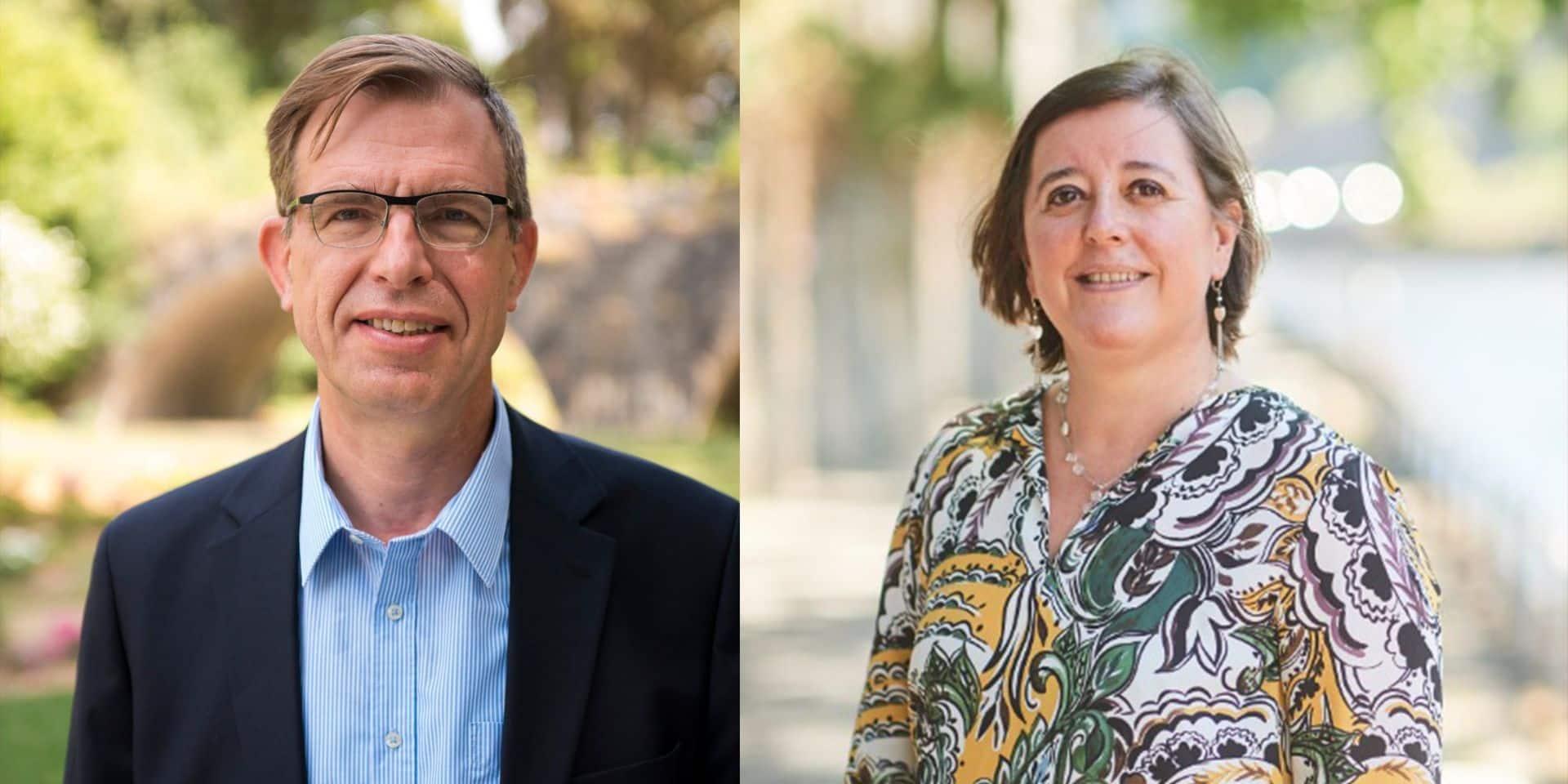 Annick Castiaux et Alain de Crombrugghe, candidats au rectorat de l'Unamur