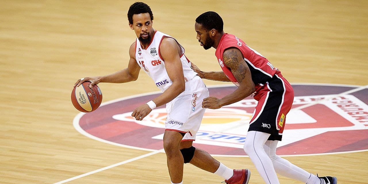 Charleroi's Cliff Hammonds and Limburg's Khadeen Carrington pictured in action during the basketball match between Limburg United and Spirou Charleroi, Friday 15 March 2019 in Limburg, the on the day 19 of the 'EuroMillions League' Belgian first division. BELGA PHOTO YORICK JANSENS