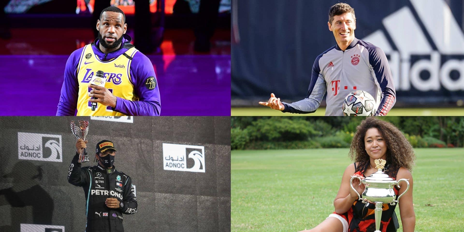 Hamilton, Lewandowski, LeBron James, Osaka: les nommés aux 'Oscars du Sport' sont connus