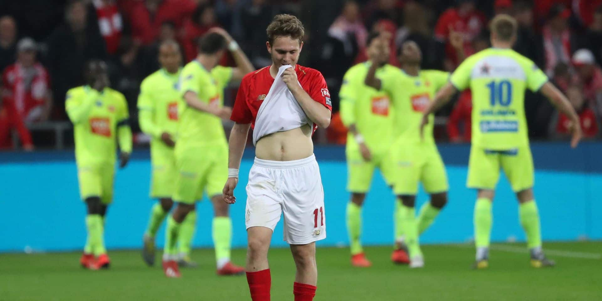 Standard's Alen Halilovic looks dejected during a soccer match between Standard de Liege and KAA Gent, Friday 10 May 2019 in Liege, on day 8 (out of 10) of the Play-off 1 of the 'Jupiler Pro League' Belgian soccer championship. BELGA PHOTO VIRGINIE LEFOUR