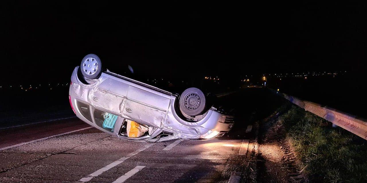 Oreye : Une voiture retrouvée sur son toit !