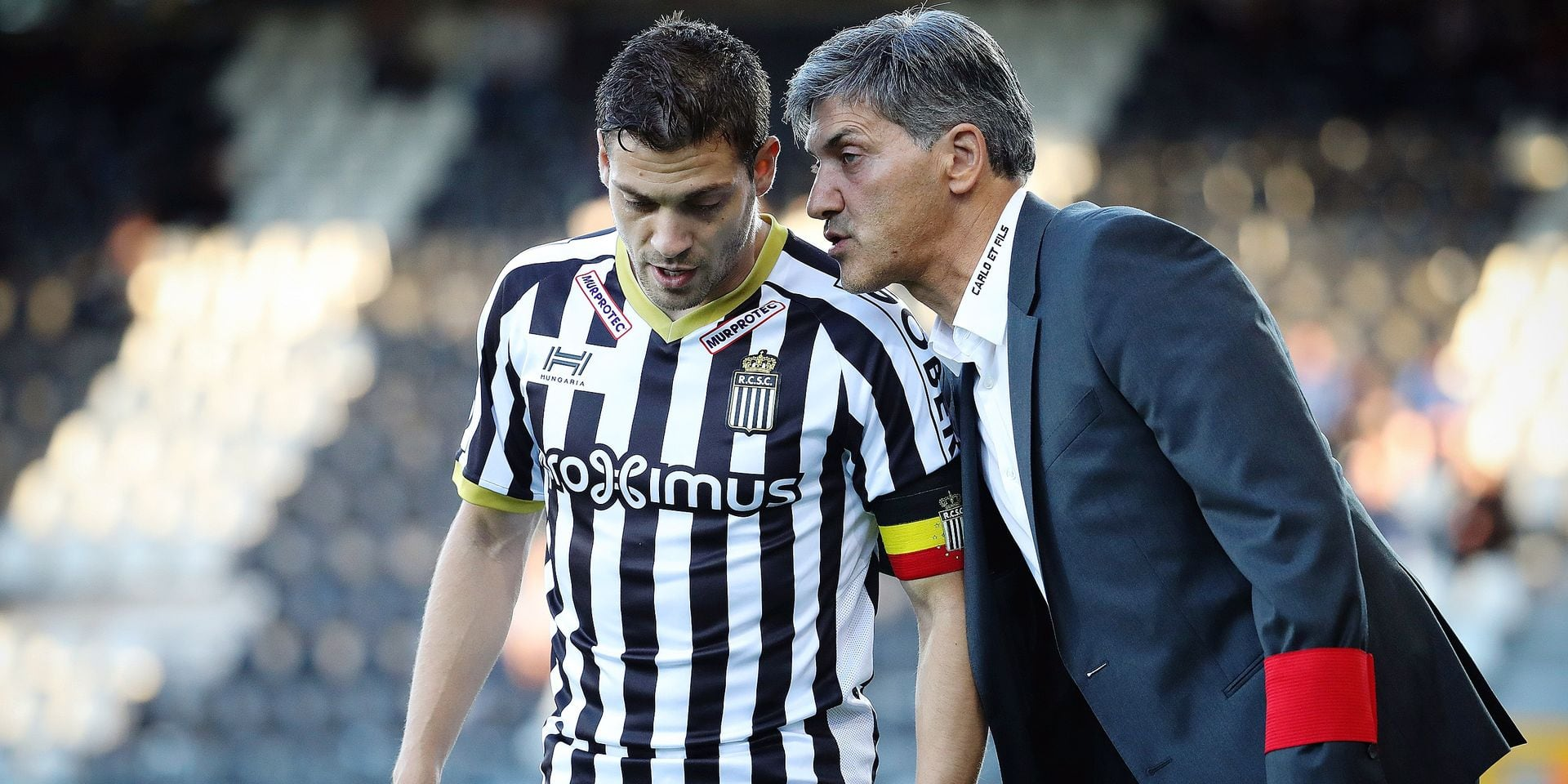 Charleroi's Francisco Javier Martos and Charleroi's head coach Felice Mazzu pictured during the Jupiler Pro League match between Sporting Charleroi and KAS Eupen, in Charleroi, Saturday 14 October 2017, on the day ten of the Jupiler Pro League, the Belgian soccer championship season 2017-2018. BELGA PHOTO VIRGINIE LEFOUR