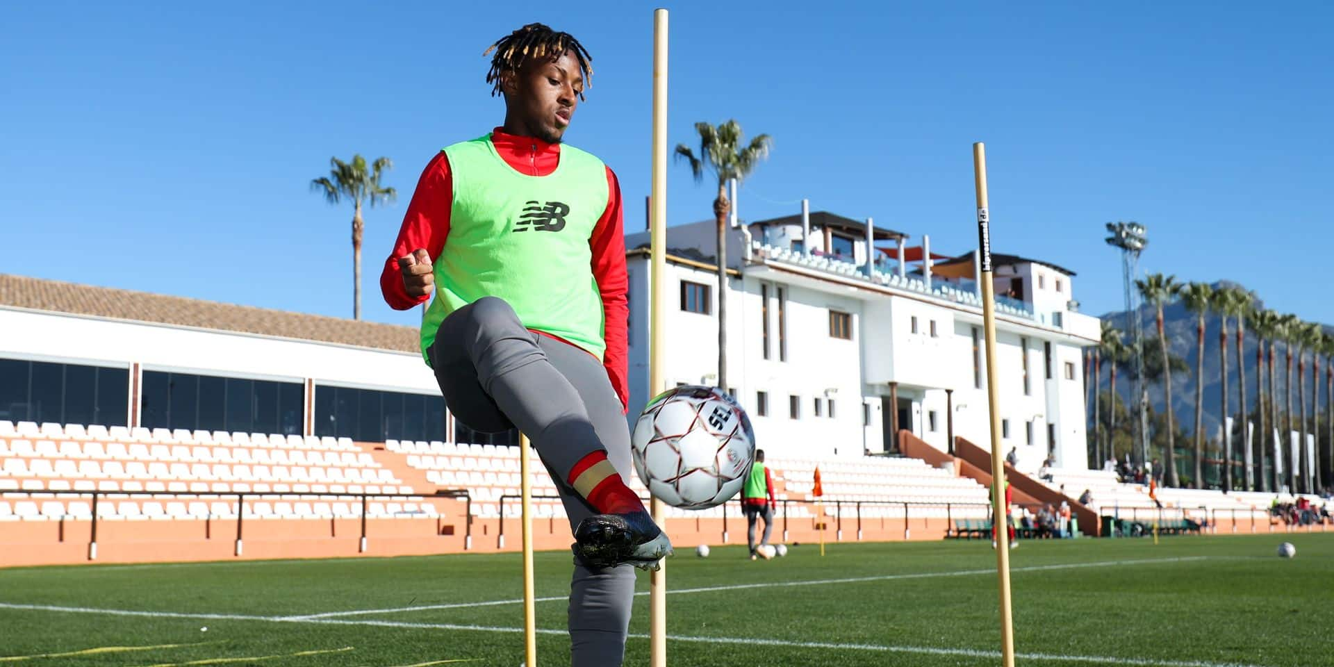 Standard's Samuel Bastien pictured in action during the morning training session the sixth day of the winter training camp of Belgian first division soccer team Standard de Liege, in Marbella, Spain, Wednesday 09 January 2019. BELGA PHOTO VIRGINIE LEFOUR