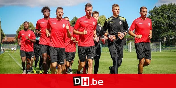 Mouscron's players pictured during a training session of Belgian soccer team Royal Excel Mouscron, Friday 21 June 2019 in Mouscron, in preparation of the upcoming 2019-2020 Jupiler Pro League season. BELGA PHOTO VIRGINIE LEFOUR