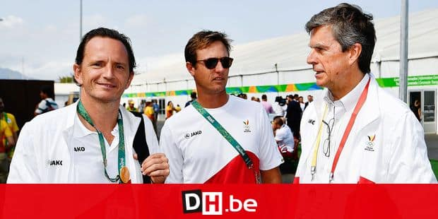 Belgian table tennis player Jean-Michel Saive (L) and BOIC-COIB chairman Pierre-Olivier Beckers (R) pictured during the 'Olympic Welcome Ceremony' for Belgium, ahead of the start of the 2016 Olympic Games in Rio de Janeiro, Brazil, Thursday 04 August 2016. BELGA PHOTO ERIC LALMAND