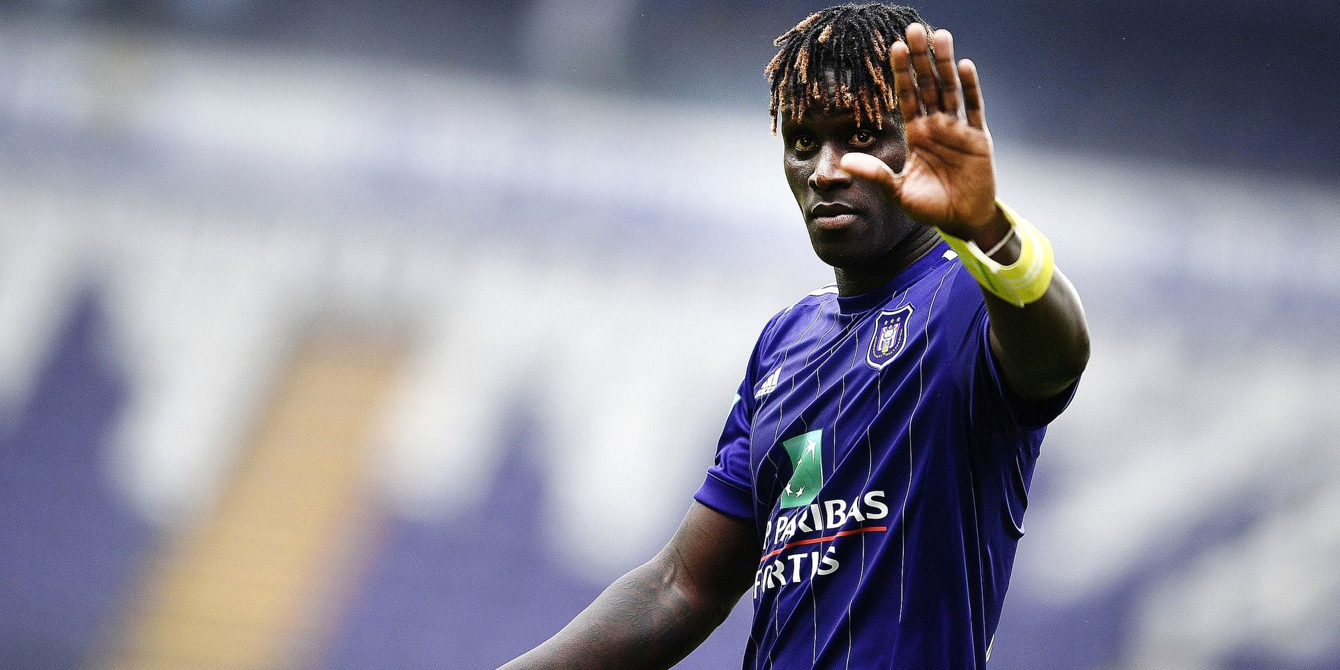 Anderlecht's Kara Mbodji pictured after the Jupiler Pro League match between RSC Anderlecht and KRC Genk, Sunday 20 May 2018 in Brussels, on the tenth and last day of the Play-Off 1 of the Belgian soccer championship. BELGA PHOTO YORICK JANSENS