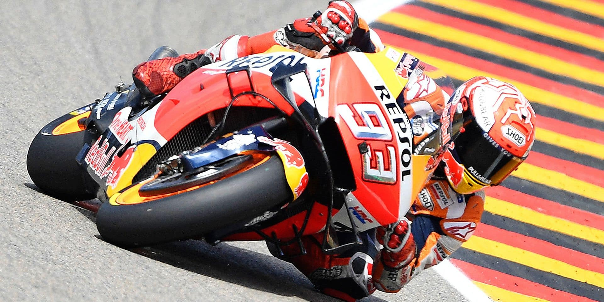MotoGP Honda rider Marc Marquez of Spain steers his motorcycle during the MotoGP qualifying at German Motorcycle Grand Prix at the Sachsenring circuit in Hohenstein-Ernstthal, Germany, Saturday, July 6, 2019. He won the qualifying. (AP Photo/Jens Meyer)