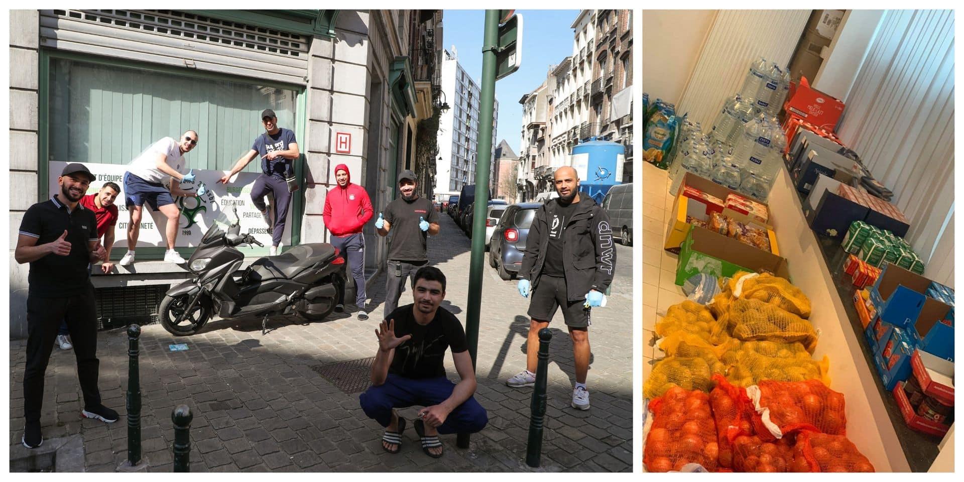 Bilal, Hamza et Mohamed distribuent des vivres aux Bruxellois dans le besoin