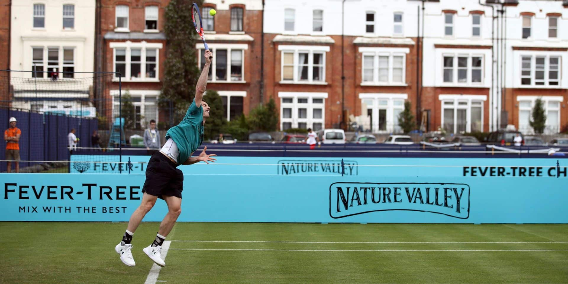 Britain's Andy Murray practices during a training session at the Queen's Club, in London, Friday June 15, 2018. (John Walton/PA via AP)