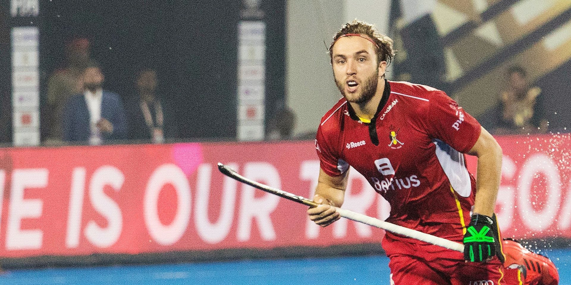"""Red Lion Emmanuel Stockbroekx in action during the Hockey World Cup 2018, in Bhubaneswar, India. on the picture regarding the Belga article """"Manu Stockbroekx blesse aux ischio-jambiers, Antoine Kina rappele par precaution"""", 02/12/2018 21:10, in BRUSSELS. BEST QUALITY AVAILABLE - BELGA PHOTO DANIEL TECHY"""