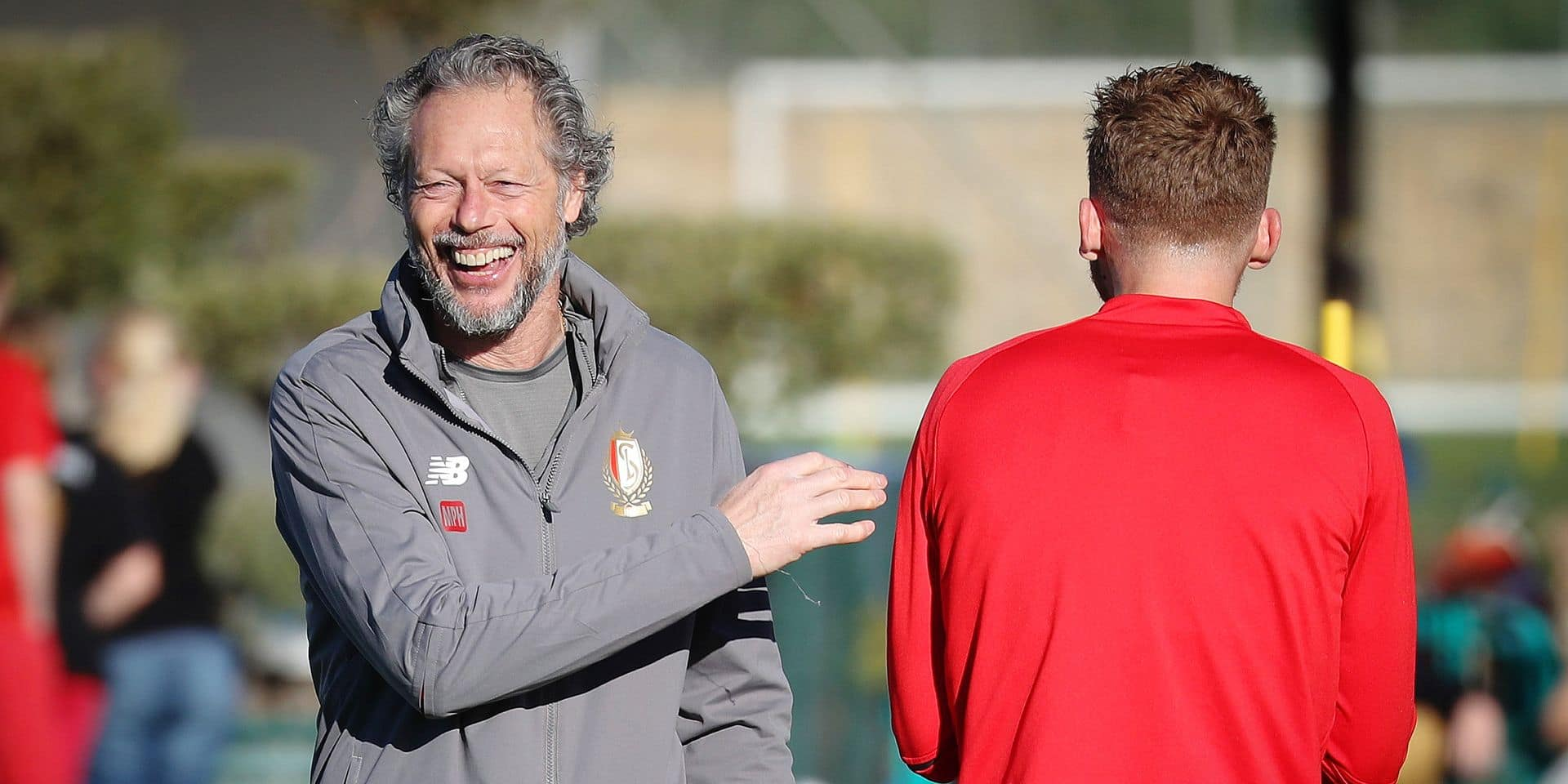 Standard's head coach Michel Preud'homme and Standard's Renaud Emond pictured during the sixth day of the winter training camp of Belgian first division soccer team Standard de Liege, in Marbella, Spain, Wednesday 09 January 2019. BELGA PHOTO VIRGINIE LEFOUR