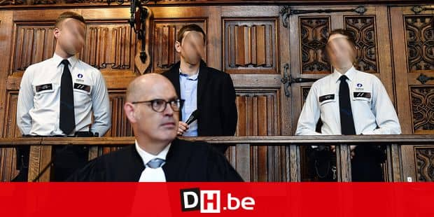 Lawyer Jean-Paul Reynders defending the accused (front) and the accused Eddy Michel (rear C) pictured during the jury composition of the assizes trial of Eddy Michel before the Assizes Court of Liege, Wednesday 11 September 2019, in Liege. The 39 year old Michel is accused of murdering his two chilren. BELGA PHOTO ERIC LALMAND
