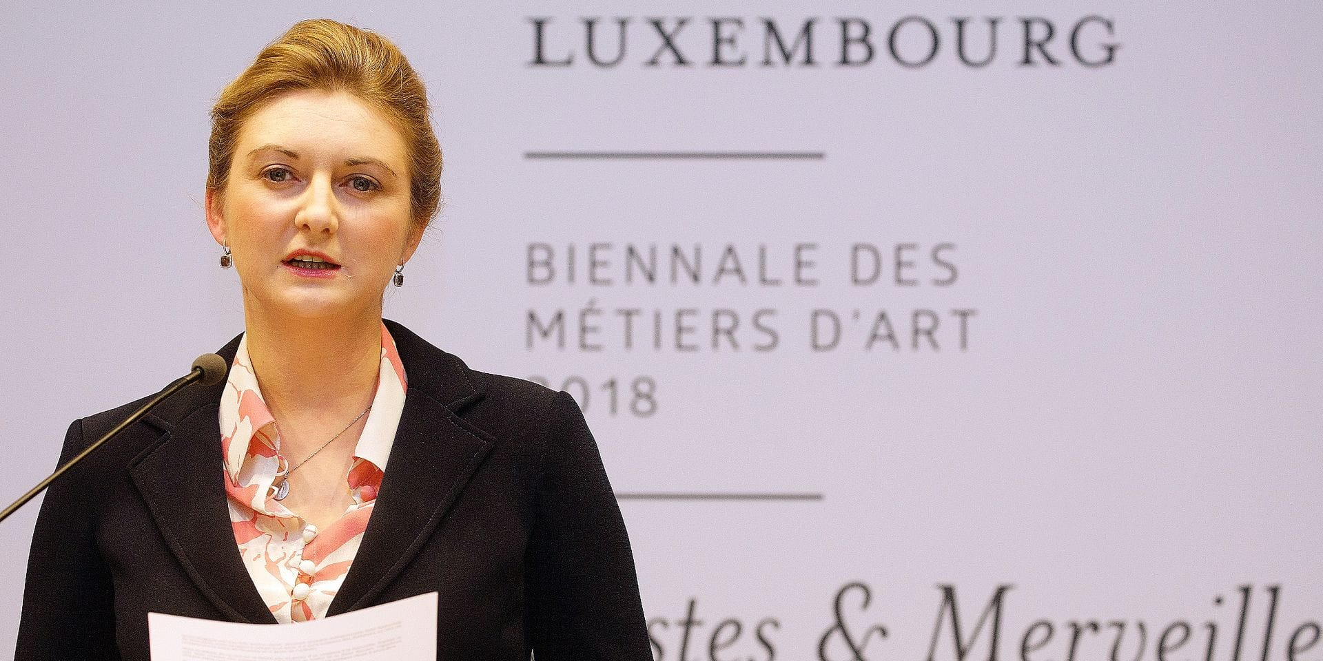 """Crown Prince Guillaume and Crown Princess Stéphanie of Luxembourg as organizers of the biennale art exhibition """"De Mains de Maîtres"""" 2018"""