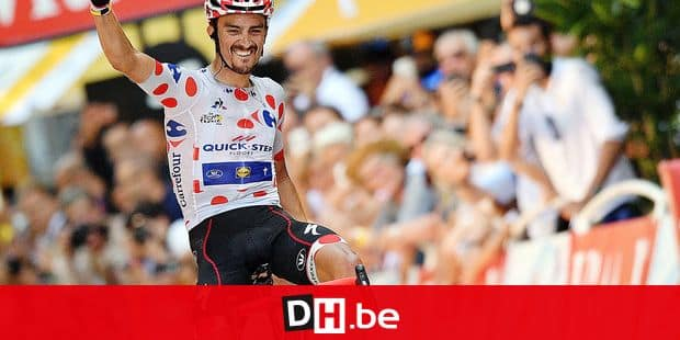 French Julian Alaphilippe of Quick-Step Floors wearing the red polka-dot jersey celebrates as he crosses the finish line to win the 16th stage of the 105th edition of the Tour de France cycling race, 218km from Carcassone to Bagneres-de-Luchon, France, Tuesday 24 July 2018. This year's Tour de France takes place from July 7th to July 29th. BELGA PHOTO DAVID STOCKMAN - FRANCE OUT