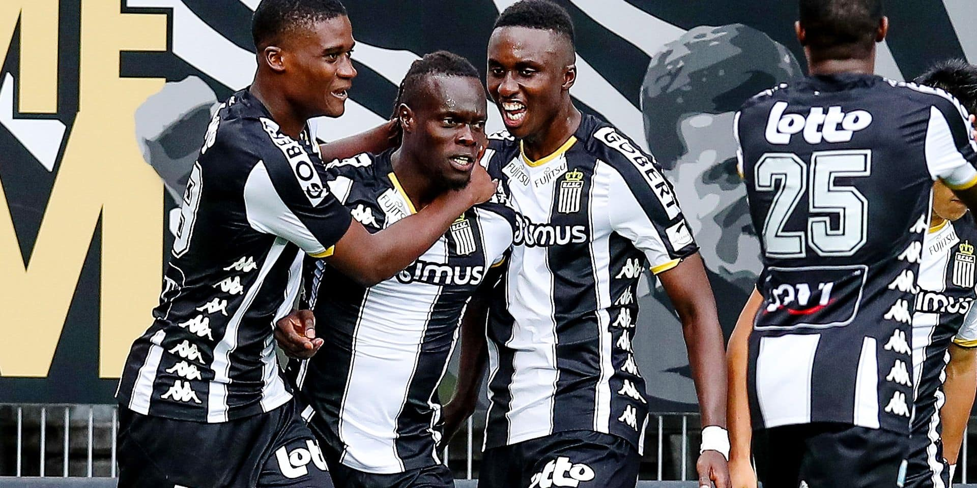 Charleroi's Mamadou Fall celebrates after scoring during a soccer match between Sporting Charleroi and Royal Antwerp FC, Sunday 11 August 2019 in Charleroi, on the third day of the 'Jupiler Pro League' Belgian soccer championship season 2019-2020. BELGA PHOTO BRUNO FAHY