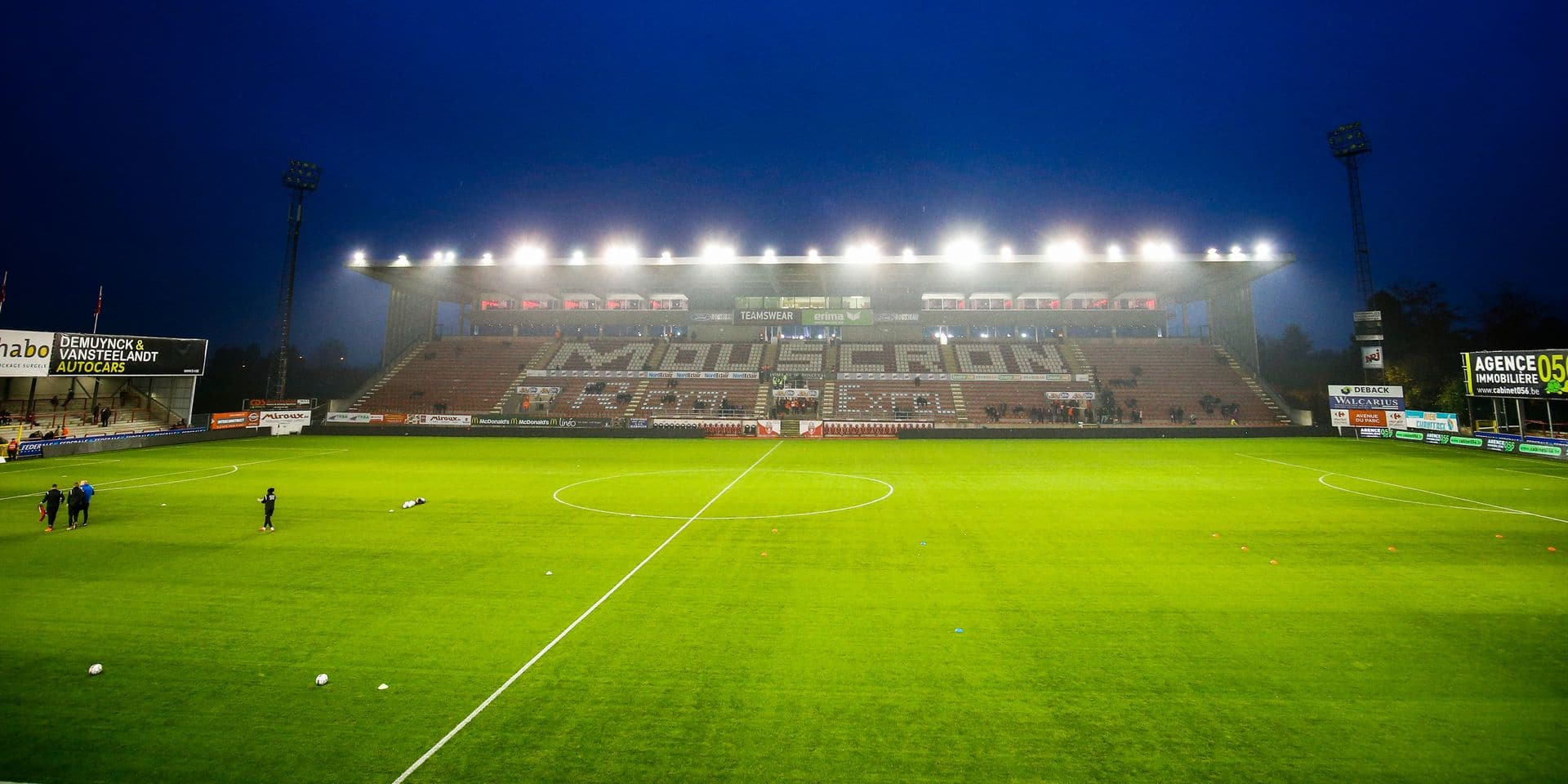 Illustration picture shows the Le Canonnier stadium before the Jupiler Pro League match between Excel Mouscron and Sporting Anderlecht, in Mouscron, Saturday 18 November 2017, on day 15 of the Jupiler Pro League, the Belgian soccer championship season 2017-2018. BELGA PHOTO BRUNO FAHY
