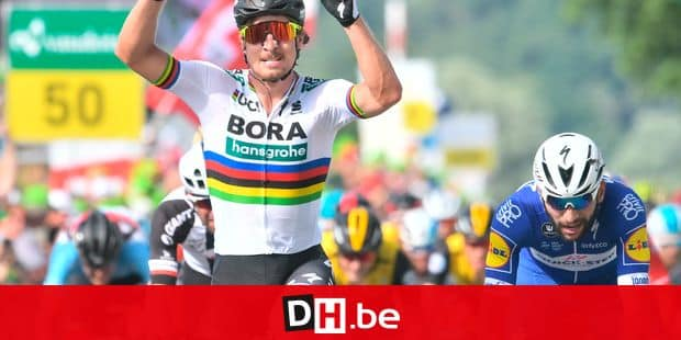 Slovakia's Peter Sagan, left, of Bora-Hansgrohe celebrates winnig the 2nd stage, a 155 km round course, of the 82th Tour de Suisse UCI ProTour cycling race in Frauenfeld, Switzerland, Sunday, June 10, 2018. (Gian Ehrenzeller/Keystone via AP)