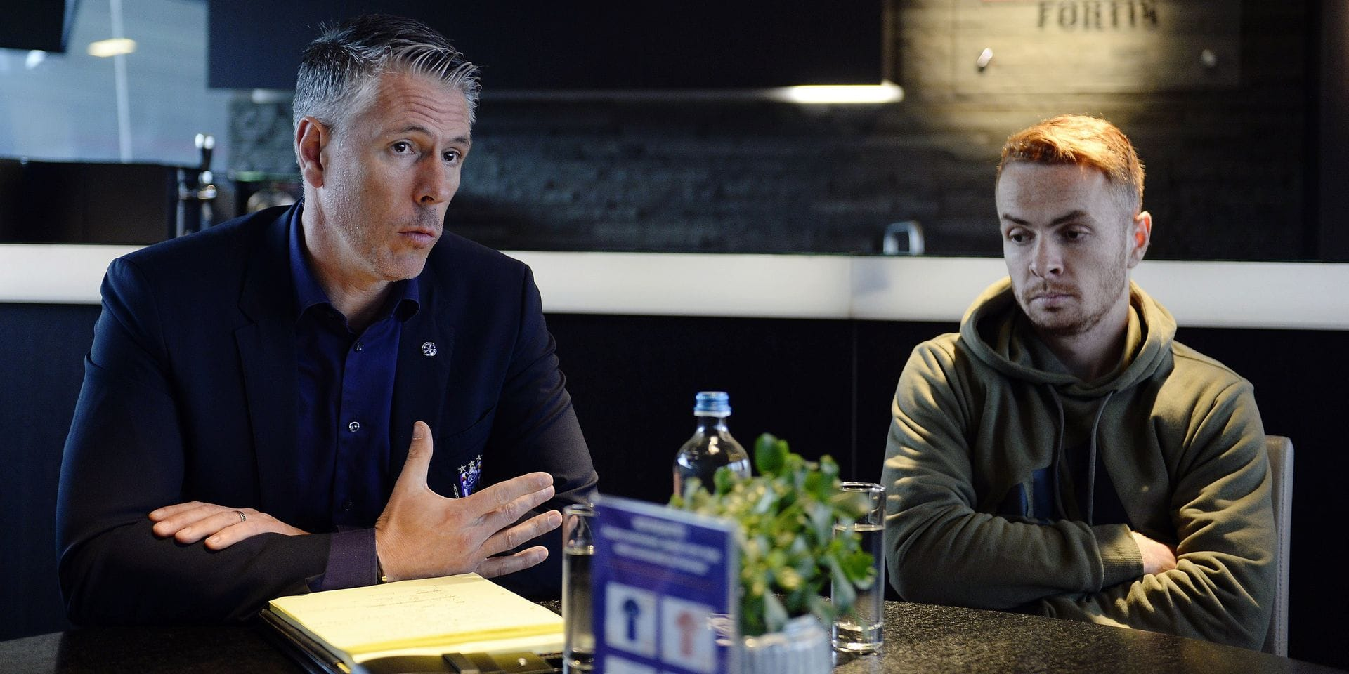 BRUSSELS, BELGIUM - APRIL 8 : Michael Verschueren and Adrien Trebel midfielder of Anderlecht talking with the press pictured during after the Jupiler Pro League playoff 1 match between RSC Anderlecht and Royal Antwerp on April 08, 2019 in Brussels, Belgium, 8/04/2019 ( Photo by Philippe Crochet/ Photonews