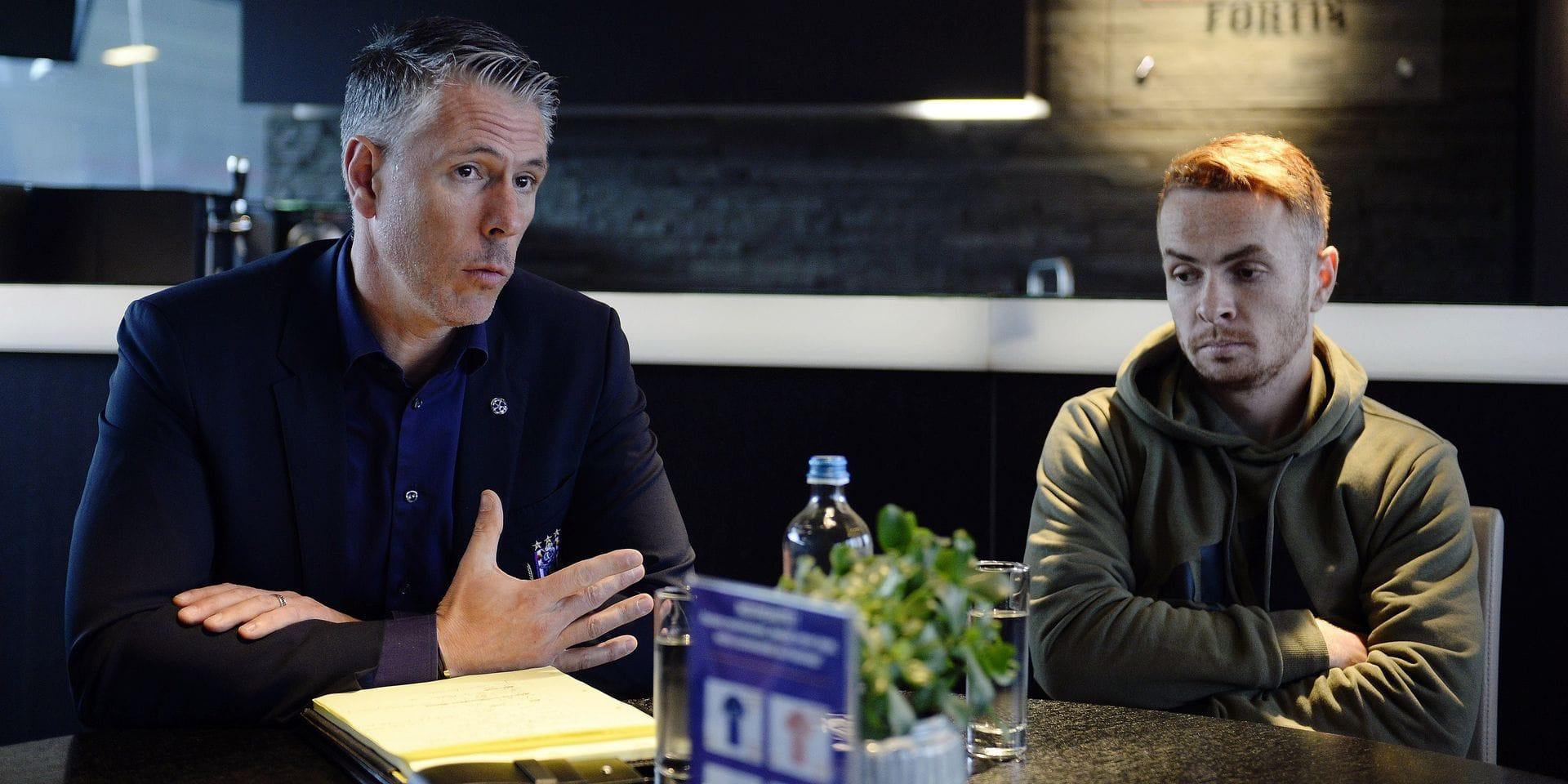Michael Verschueren and Adrien Trebel talking with the media