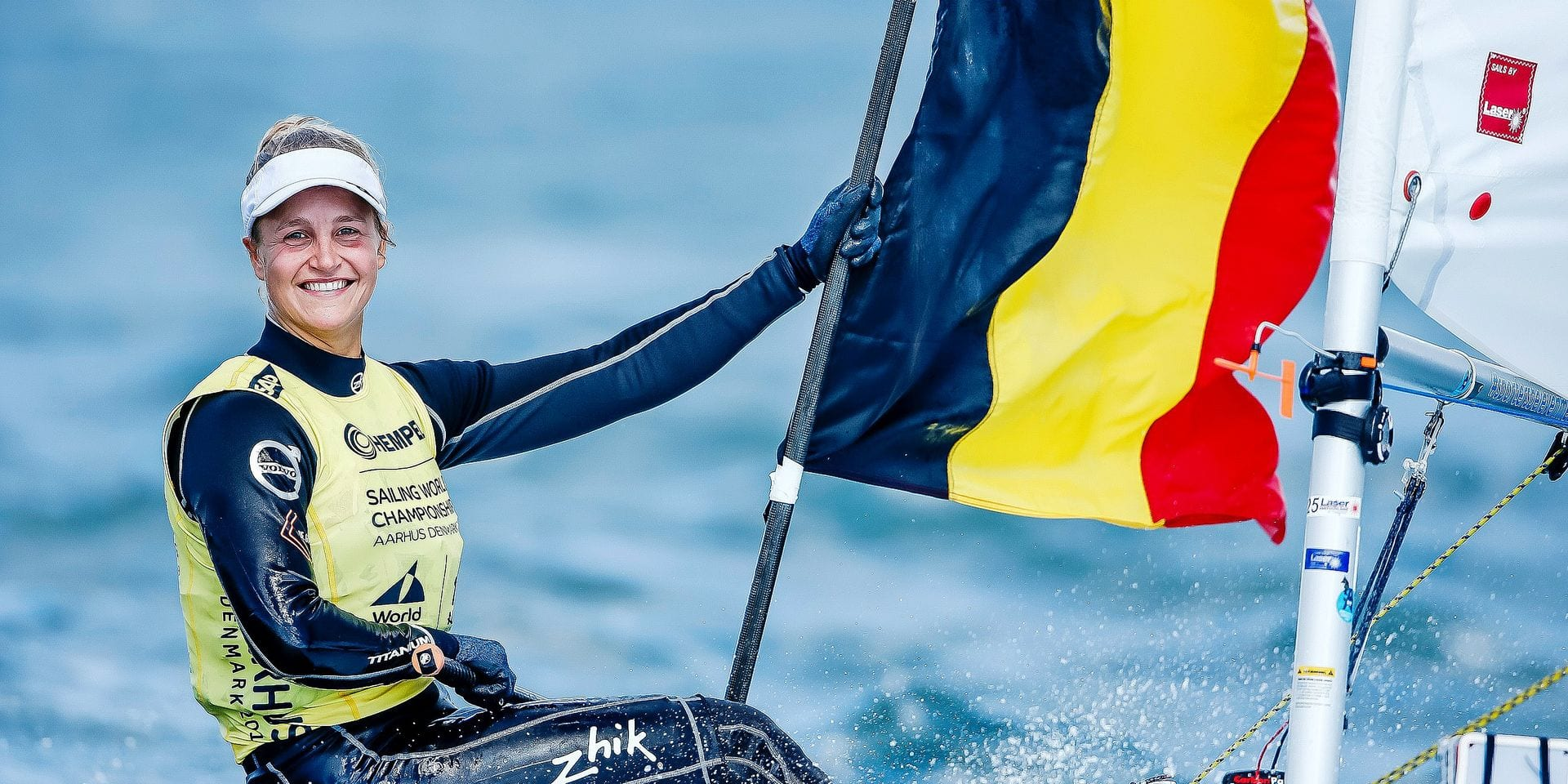ATTENTION EDITORS, MANDATORY CREDIT: WORLD SAILING This handout picture, distributed by World Sailing shows Belgian gold medalist Emma Plasschaert celebrating after winning the World Championships in Aarhus, Denmark, Friday 10 August 2018. BELGA PHOTO PEDRO MARTINEZ - SAILING ENERGY - WORLD SAILING