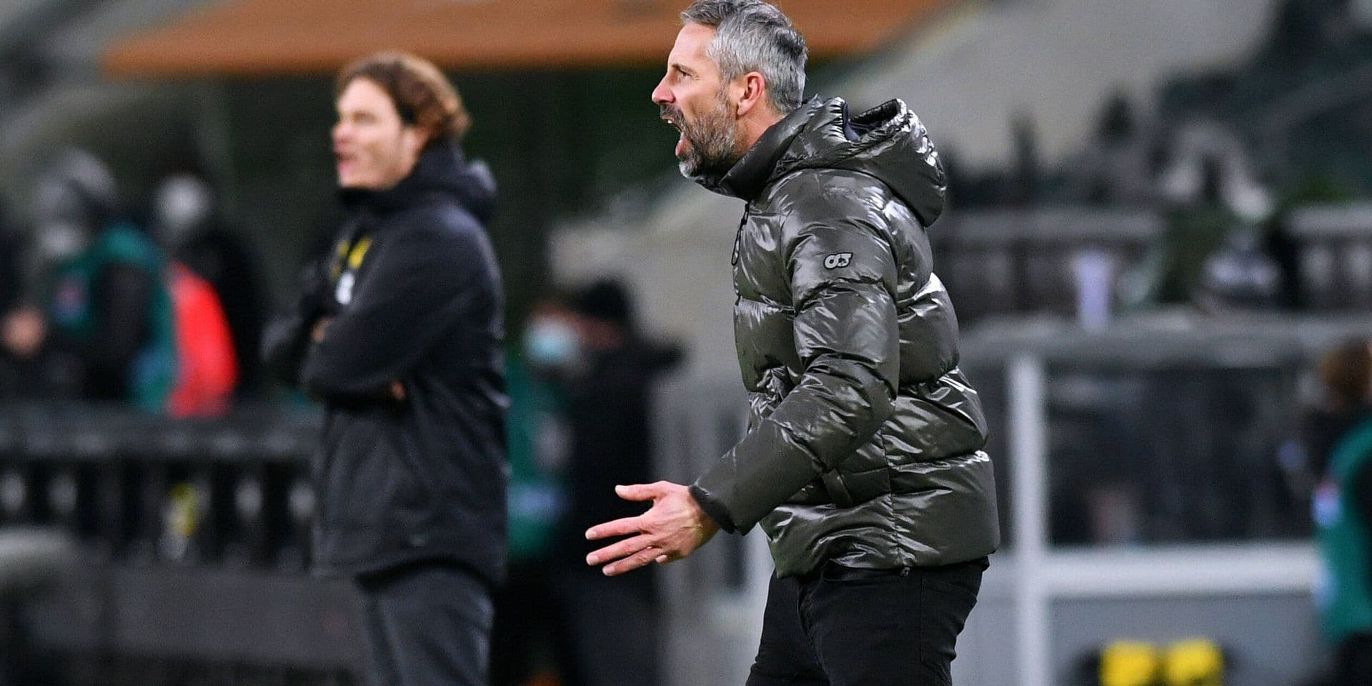 Cheftrainer Marco Rose (BMG), Cheftrainer Edin Terzic (BVB). Aktion Fussball, Bundesliga, Deutschland, Herren, Saison 2