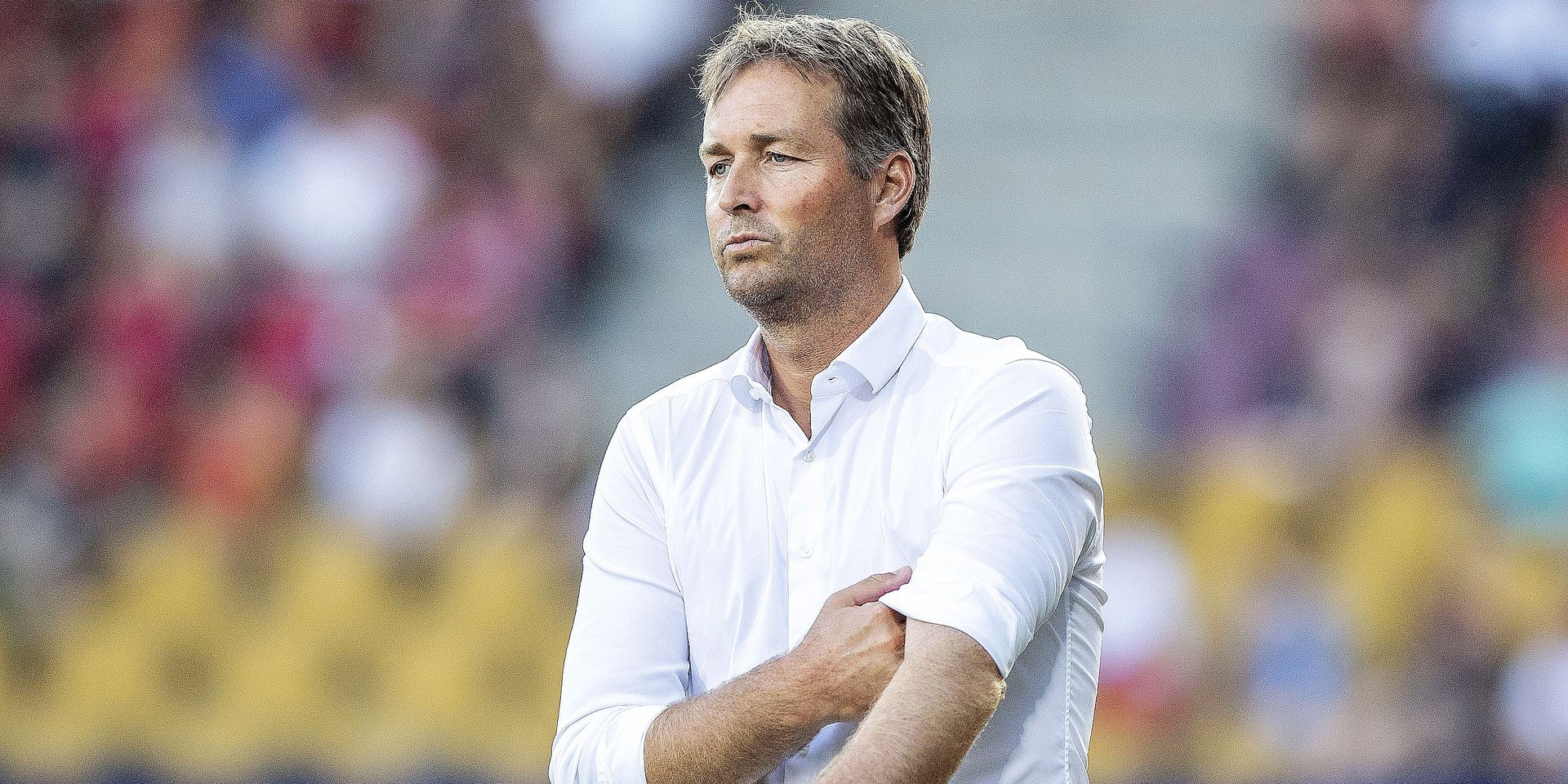 Kasper Hjulmand, coach for FC Nordsjaelland, looks on during the first leg of the second qualifying round for the Europa League match between FC Nordsjaelland and AIK Stockholm at Right to Dream Park in Farum on July 26, 2018. (Photo by Anders Kjaerbye / Ritzau Scanpix / AFP) / Denmark OUT