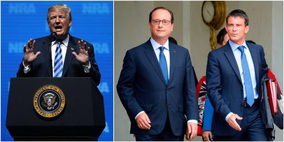"""""""Si les victimes avaient été armées le 13 novembre à Paris, il y aurait eu moins de morts"""": les propos de Trump indignent Hollande et Valls"""
