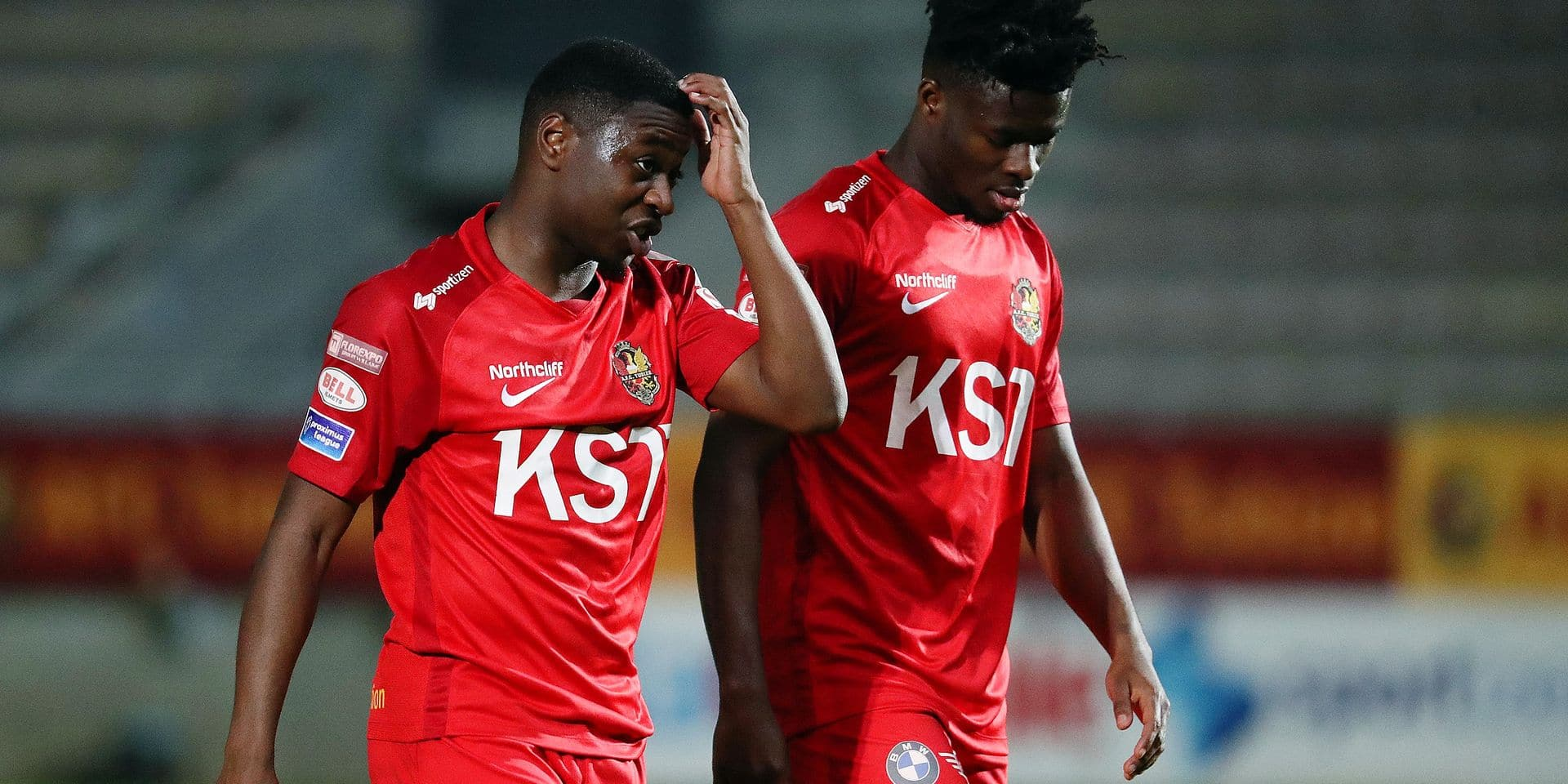Tubize's Aaron Nemane look dejected after a soccer game between AFC Tubize and OH Leuven, Friday 19 April 2019 in Tubize, on day 5 (out of 6) of the Play-off 3 of the 'Jupiler Pro League' Belgian soccer championship. BELGA PHOTO VIRGINIE LEFOUR