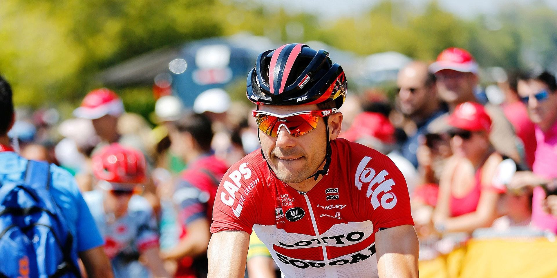 Belgian Maxime Monfort of Lotto Soudal pictured at the second stage of the Vuelta, Tour of Spain cycling race, a 163,5 km from Marbella to Caminito del Rey, Spain, Sunday 26 August 2018. BELGA PHOTO YUZURU SUNADA