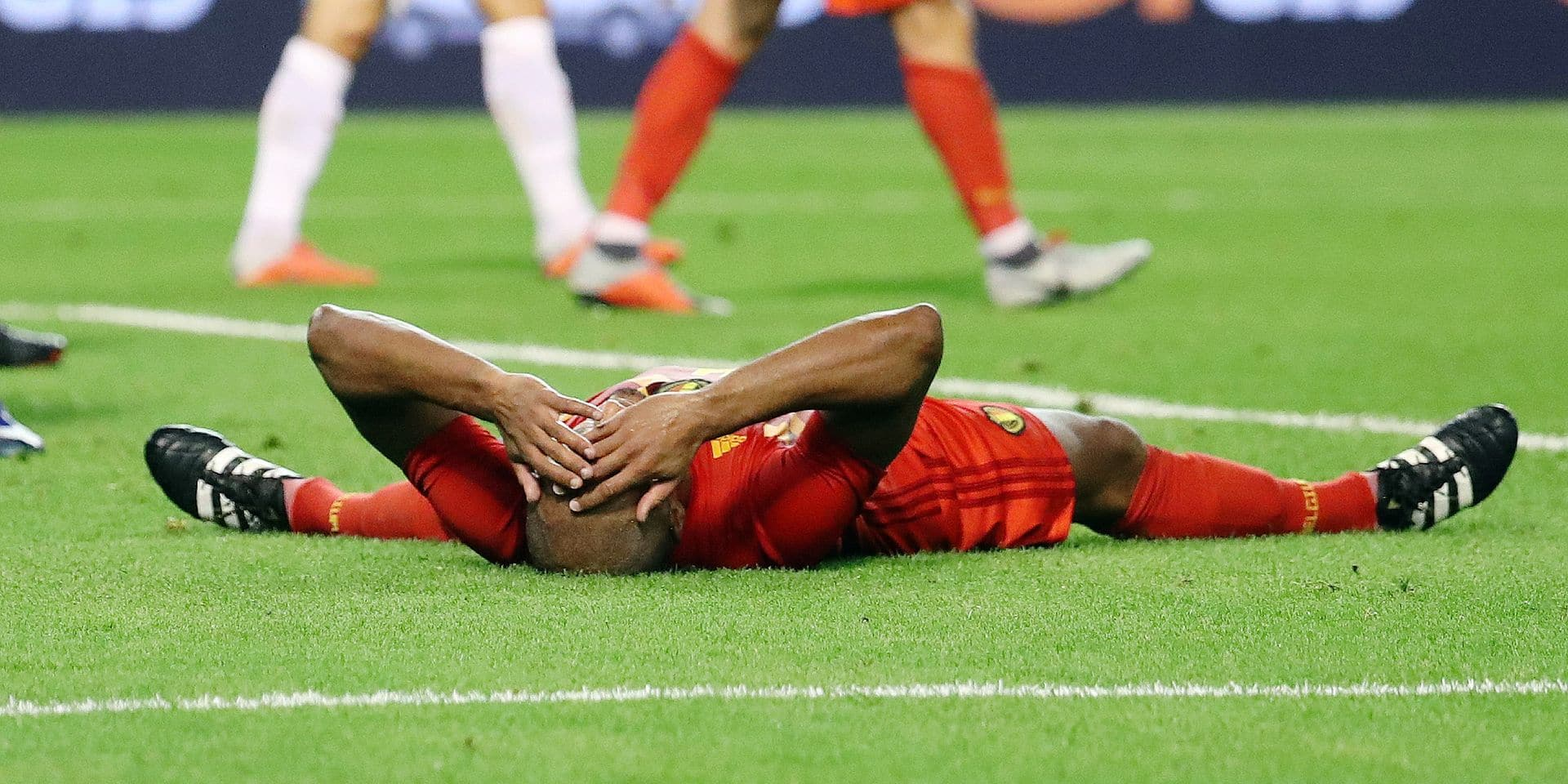 Belgium's Vincent Kompany looks dejected during a soccer game between Belgian national team the Red Devils and Switzerland in Brussels, Friday 12 October 2018, the second game in group 2 of the UEFA Nations League A competition. BELGA PHOTO VIRGINIE LEFOUR