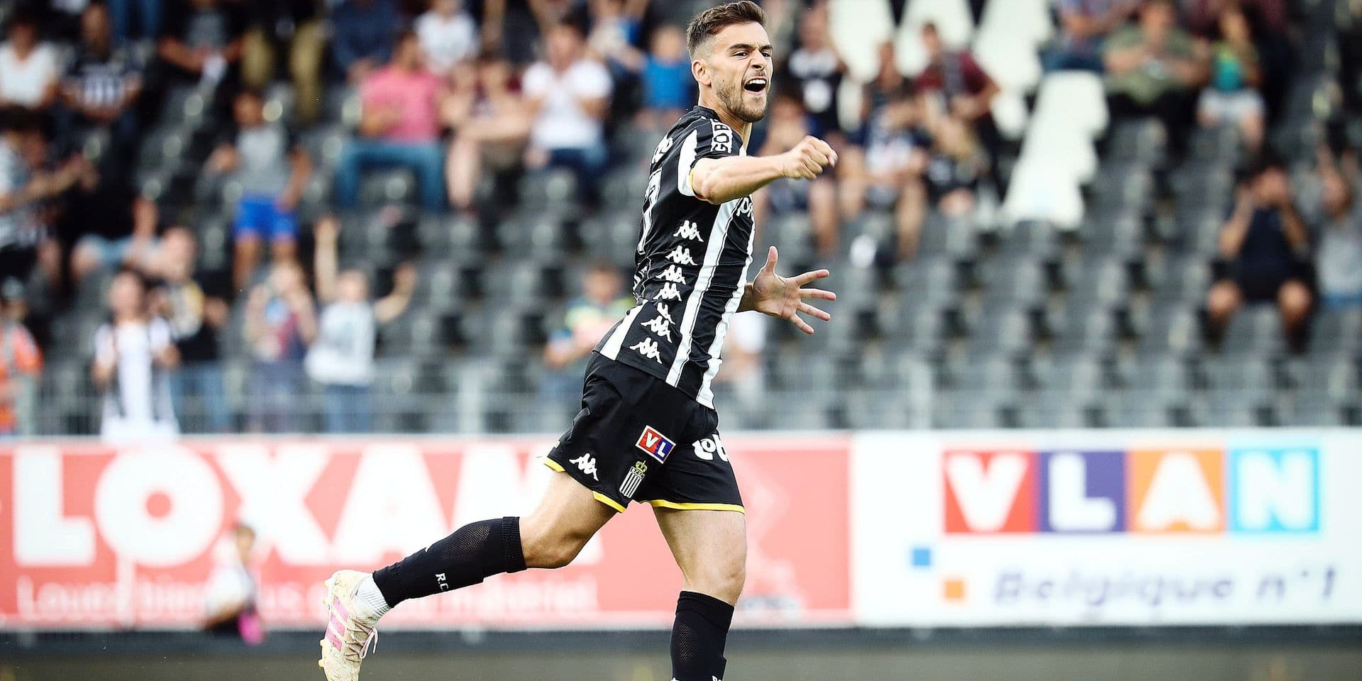 Charleroi's Massimo Bruno celebrates after scoring during a friendly soccer game between Belgian club Sporting Charleroi and French team Troyes AC, Friday 19 July 2019 in Charleroi, in preparation of the upcoming 2019-2020 Jupiler Pro League season. BELGA PHOTO VIRGINIE LEFOUR