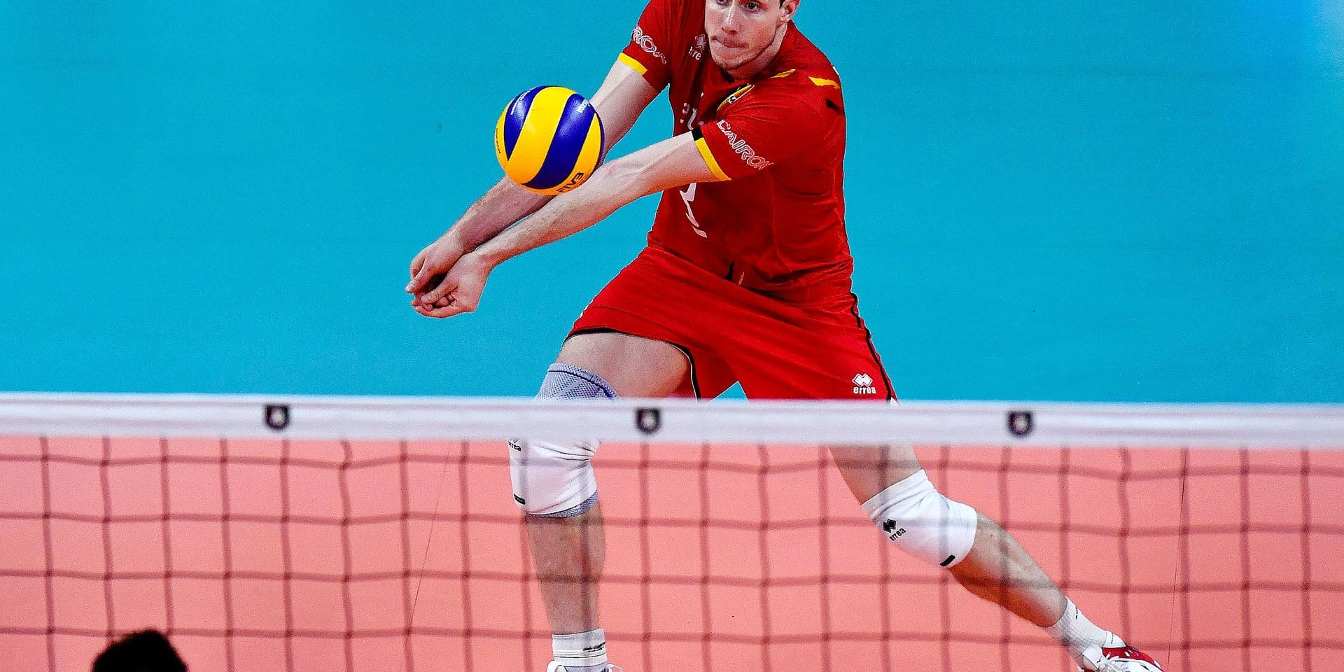 Belgium's Sam Deroo pictured in action during the fifth and last game in the group B, between the Red Dragons, Belgian national volleyball team, and Serbia, at the European volleyball championships, Wednesday 18 September 2019, in Antwerp. BELGA PHOTO DIRK WAEM