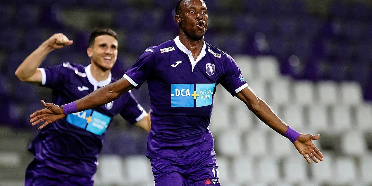 Beerschot's Euloge Meme Placca Fessou celebrates after scoring during a soccer game between Beerschot VA and Royale Union Saint-Gilloise, Friday 30 August 2019 in Antwerp, on day four of the 'Proximus League' 1B division of the Belgian soccer championship. BELGA PHOTO KRISTOF VAN ACCOM