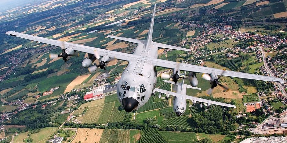 20100716 - FLORENNES, BELGIUM: Illustration shows a C 130 'Hercules' plane of the Belgian army during a rehearsal flight for the national parade of 21 July 2010, Belgian national day, Friday 16 July 2010, in Florennes. BELGA PHOTO GERARD GAUDIN