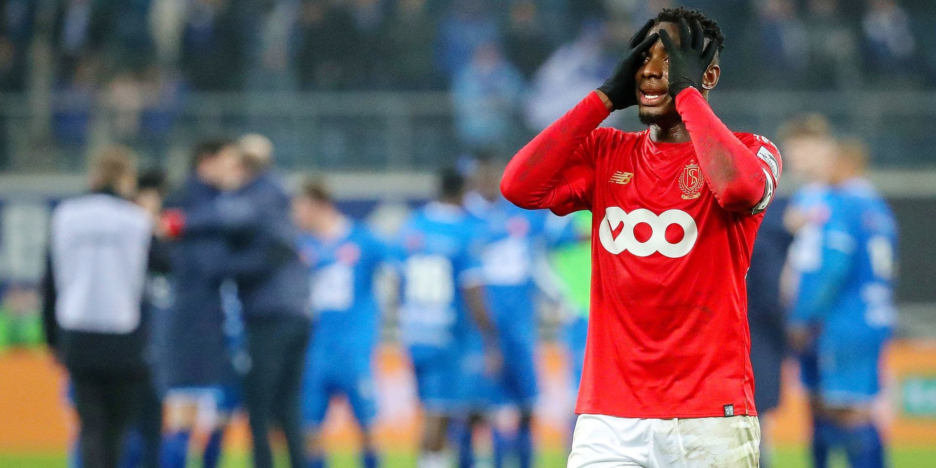 Standard's Paul-Jose Mpoku M'Poku Ebunge looks dejected after a soccer match between KAA Gent and Standard de Liege, Friday 22 February 2019 in Gent, on day 27th of the 'Jupiler Pro League' Belgian soccer championship season 2018-2019. BELGA PHOTO VIRGINIE LEFOUR