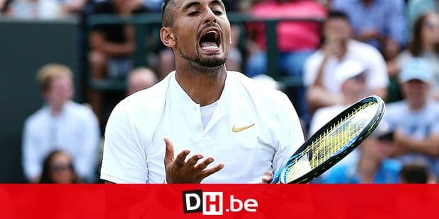 Nick Kyrgios of Australia, reacts as he plays Robin Haase of the Netherlands, during their men's singles match, on the fourth day of the Wimbledon Tennis Championships in London, Thursday July 5, 2018. (Jonathan Brady/PA via AP)