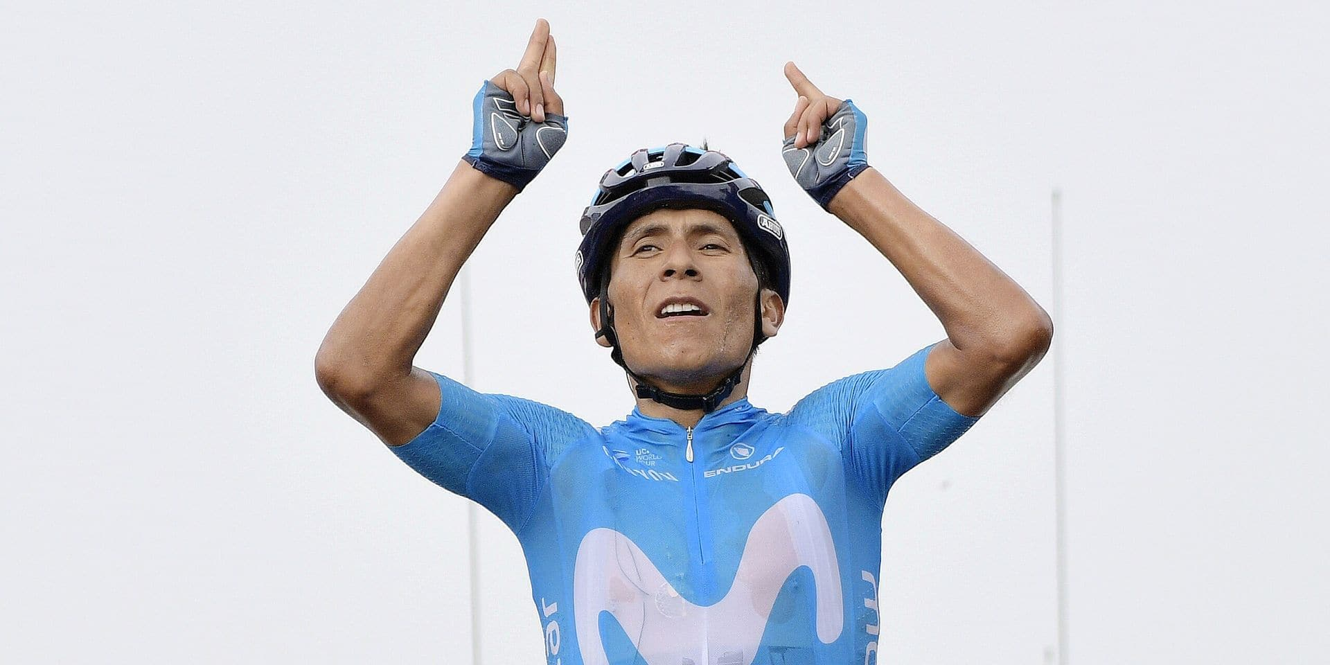 Colombian Nairo Quintana of Movistar Team celebrates as he crosses the finish line to win the 17th stage of the 105th edition of the Tour de France cycling race, from Bagneres-de-Luchon to Saint-Lary-Soulan (65 km), France, %datetext. This year's Tour de France takes place from July 7th to July 29th. BELGA PHOTO YORICK JANSENS