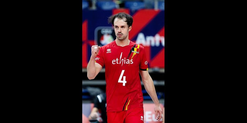 Belgium's Stijn D'Hulst celebrates during a group B game between Spain and the Red Dragons, Belgian national volleyball team, at the European volleyball championships, Sunday 15 September 2019, in Antwerp. BELGA PHOTO KRISTOF VAN ACCOM