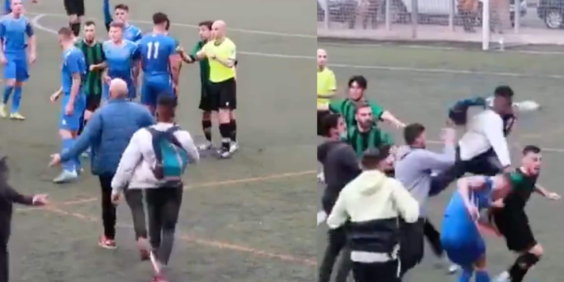Un match de football dégénère en Espagne: énorme bagarre générale entre joueurs et supporters (VIDEO)