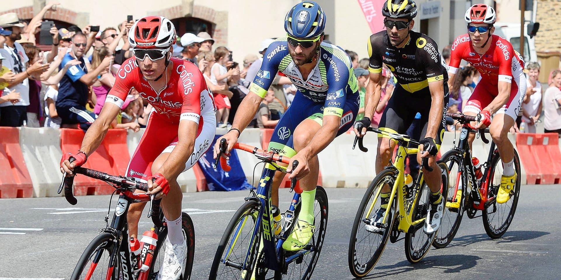 ©PHOTOPQR/OUEST FRANCE &#x3B; Tour de France cycliste 2018 4 ème étape La Baule - Sarzeau l' échappée avec Anthony Pérez (Cofidis), Dimitri Claeys (BEL, Cofidis), Jérôme Cousin (Direct Energie) et Guillaume Van Keriksbulck (Wanty-Groupe Gobert ) - Tour de France 2018 - cycling race takes place from july 7th to 29th 2018. 21 stages - 3 351kms -