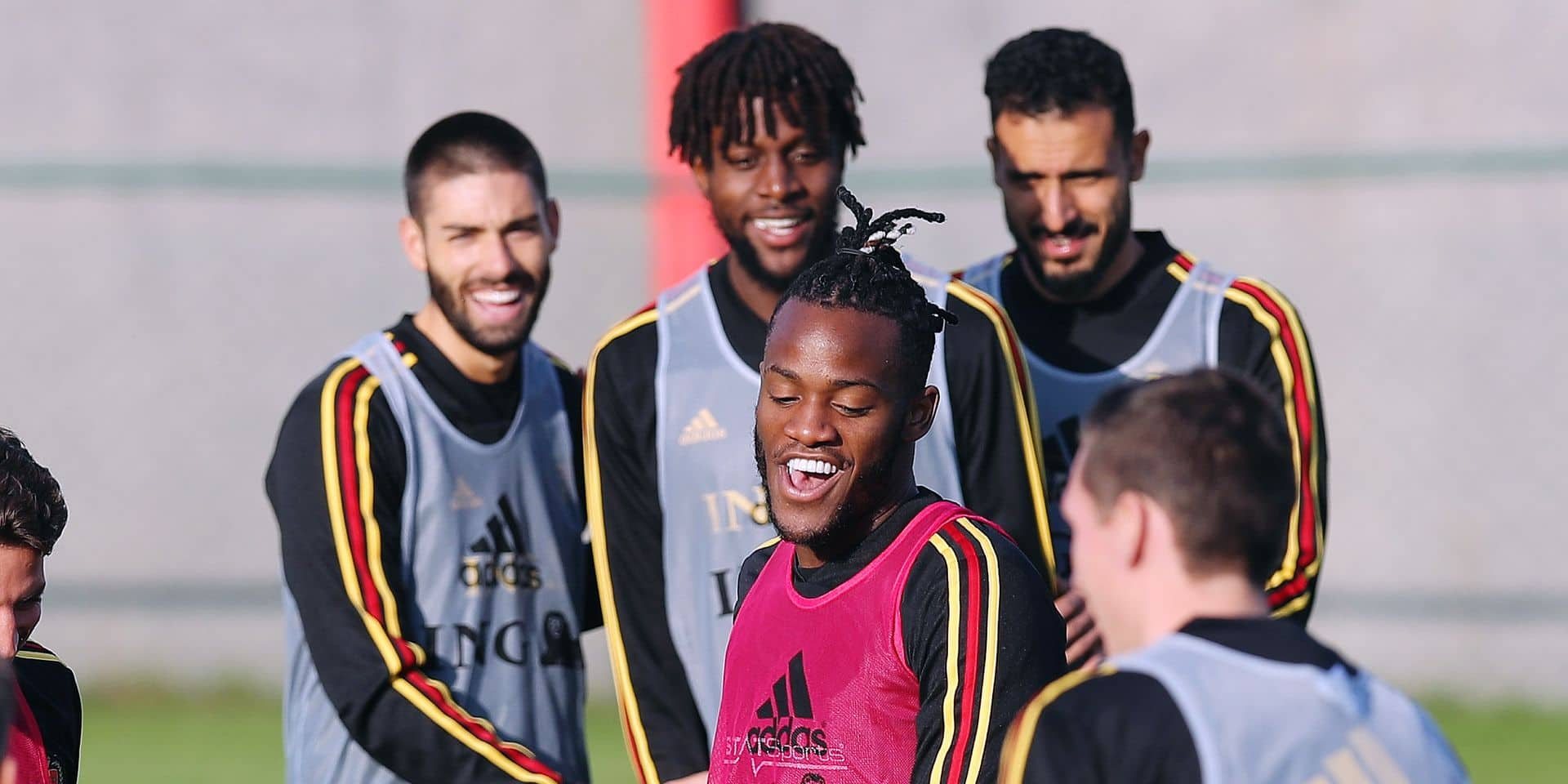 Belgium's Michy Batshuayi pictured during a training of Belgian national soccer team Red Devils, Wednesday 20 March 2019 in Tubize. The team is preparing two European Cup 2020 qualification games against Russia tomorrow in Belgium and in Cyprus against Cyprus. BELGA PHOTO BRUNO FAHY