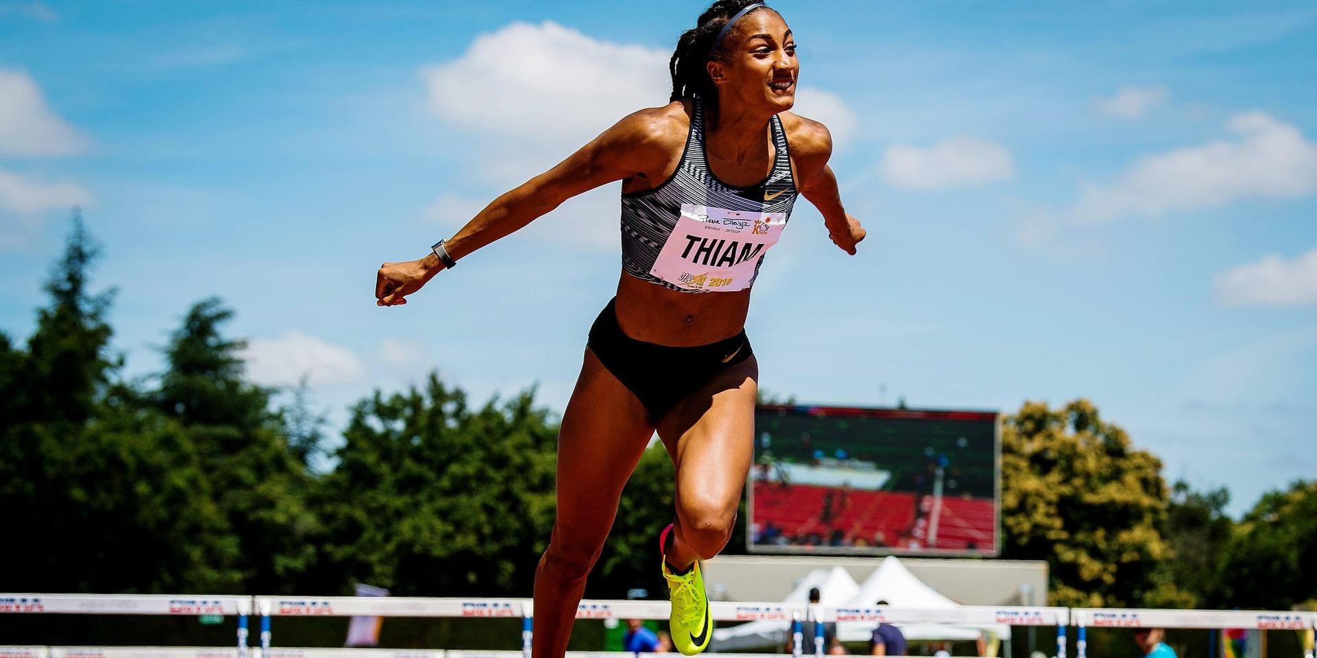 Belgian Nafissatou Nafi Thiam pictured in action during 100m hurdles race the first day of heptathlon competition at the DecaStar athletics event in Talence, France, Saturday 22 June 2019. BELGA PHOTO JASPER JACOBS