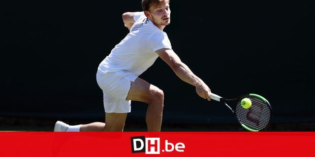 Belgian David Goffin pictured in action during a training session ahead of the 2018 Wimbledon grand slam tennis tournament at the All England Tennis Club, in south-west London, Britain, Friday 29 June 2018. The main tables at the Wimbledon tournament will start on 2 July. BELGA PHOTO VIRGINIE LEFOUR