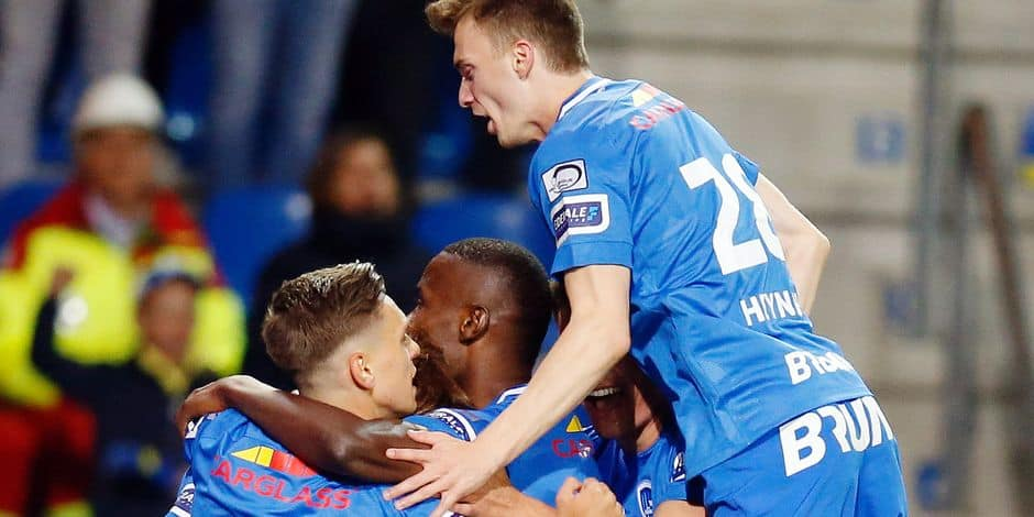 Genk's players celebrate during a soccer match between KRC Genk and Royal Antwerp FC, Friday 03 May 2019 in Genk, on day 7 (out of 10) of the Play-off 1 of the 'Jupiler Pro League' Belgian soccer championship. BELGA PHOTO BRUNO FAHY
