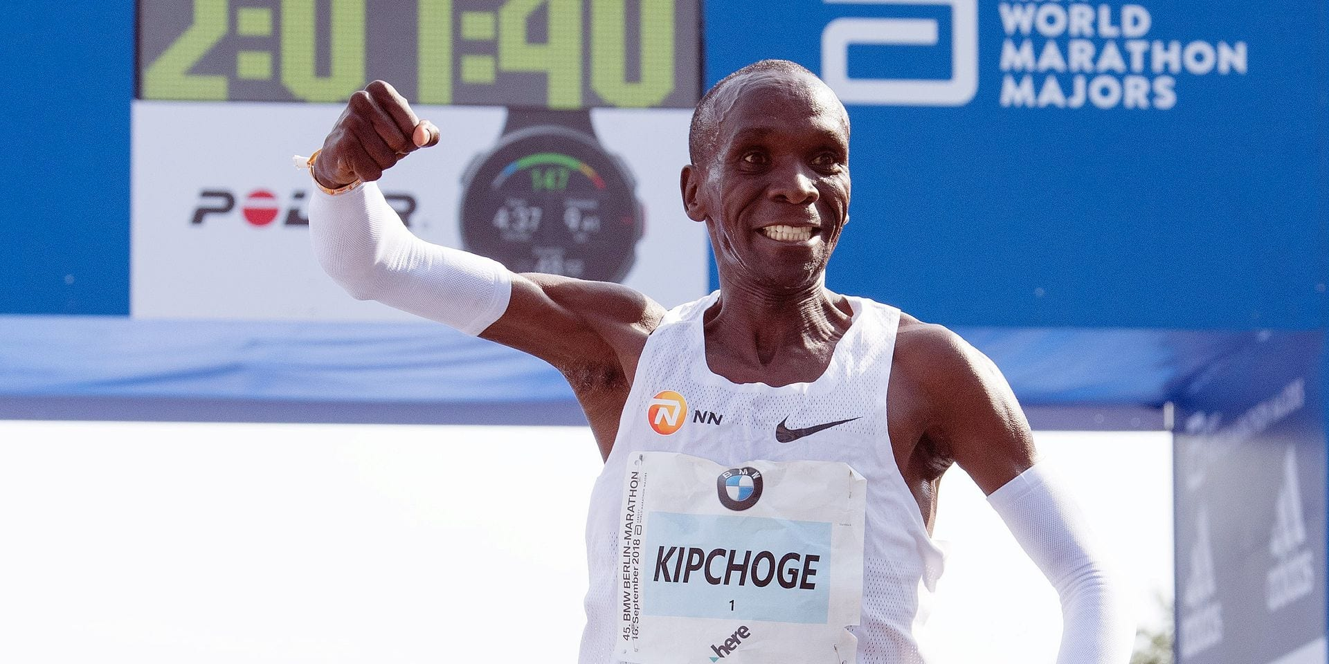 16 September 2018, Berlin: Kenyan Eliud Kipchoge winning the 45th BMW Berlin Marathon in 2:01:39 hours. He set a world record. Photo: Soeren Stache/dpa Reporters / DPA