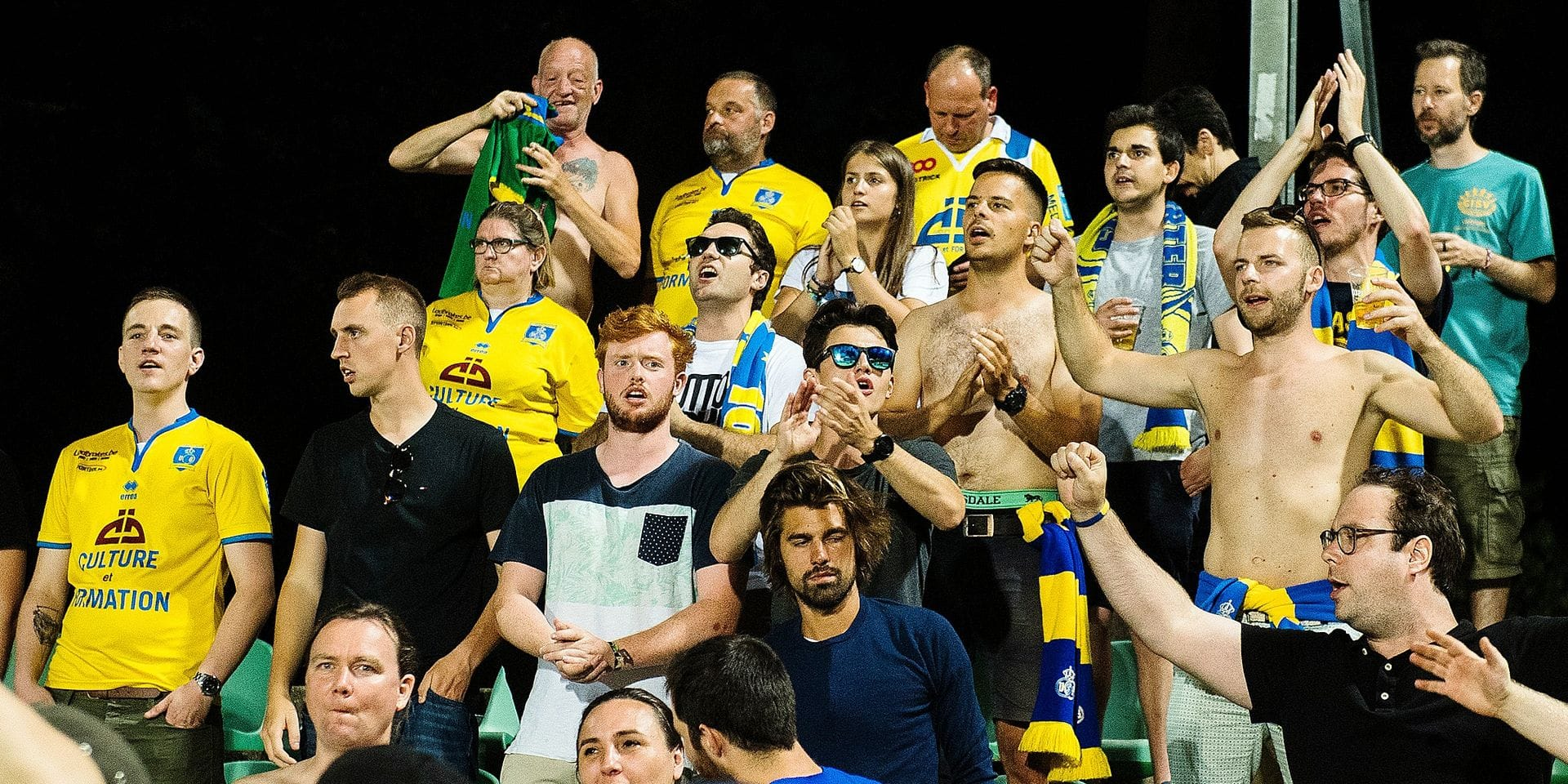 Union's supporters pictured during a soccer game between Lommel SK and Union Saint-Gilloise, in Lommel, Friday 03 August 2018, on the first day of the division 1B Proximus League competition of the Belgian soccer championship. BELGA PHOTO LAURIE DIEFFEMBACQ