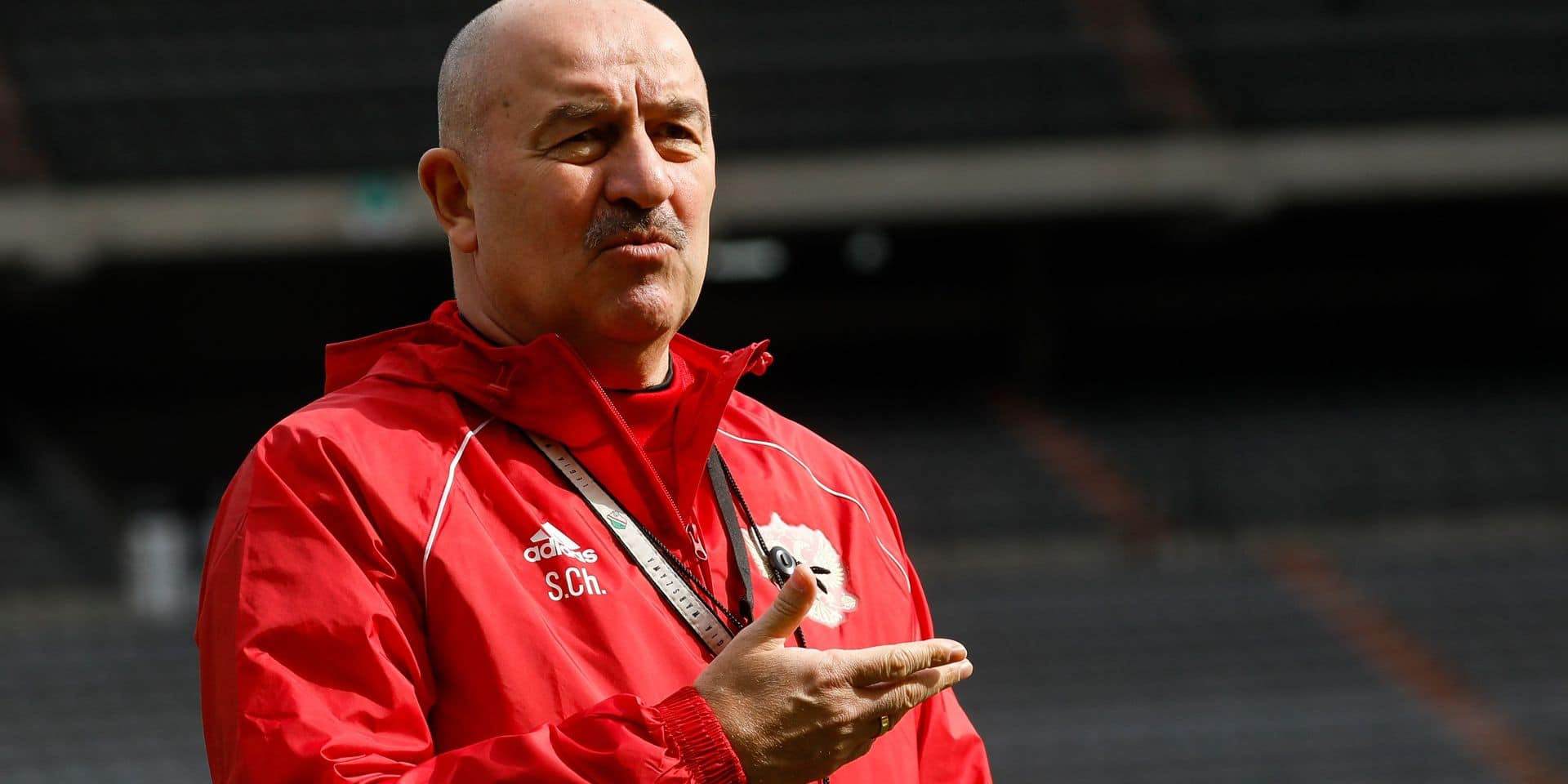 Russia Head coach Stanislav Cherchesov pictured during a training session of Russian national soccer team, Wednesday 20 March 2019 in Brussels. The team is playing tomorrow a European Cup 2020 qualification games against Belgium. BELGA PHOTO THIERRY ROGE