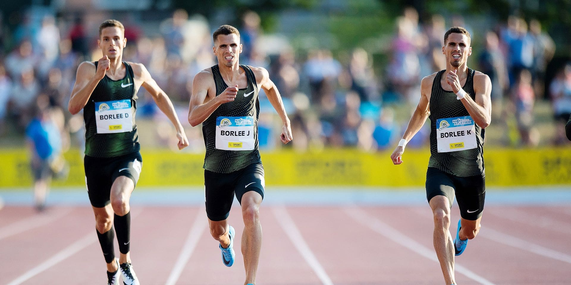 Belgian Dylan Borlee, Belgian Jonathan Borlee and Belgian Kevin Borlee pictured in action during the 39th edition of the 'Nacht van de Atletiek (EA Classic Meeting) athletics meeting, Saturday 21 July 2018, in Heusden-Zolder. BELGA PHOTO JASPER JACOBS